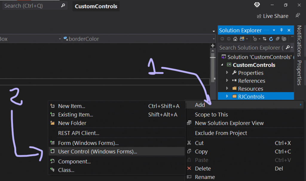 Como agregar un User Control Visual Studio
